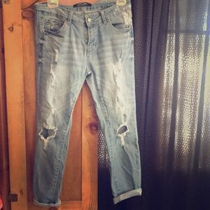Denim - Wax Jean ripped Cropped pants